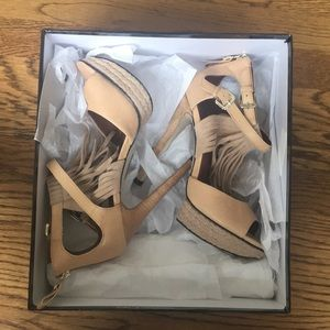 Tan fringed stilettos